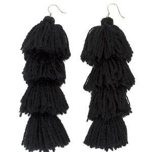 MISA Los Angeles Black Cotton Fringe Earrings